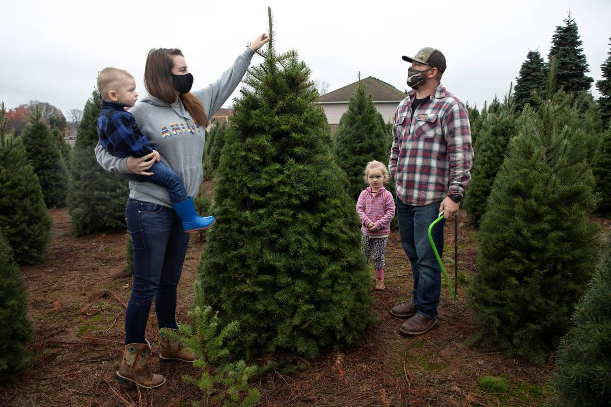 Josh and Jessica Ferrara shop for Christmas trees with son Jayce, 1 year and Jade, 3 years, at ...