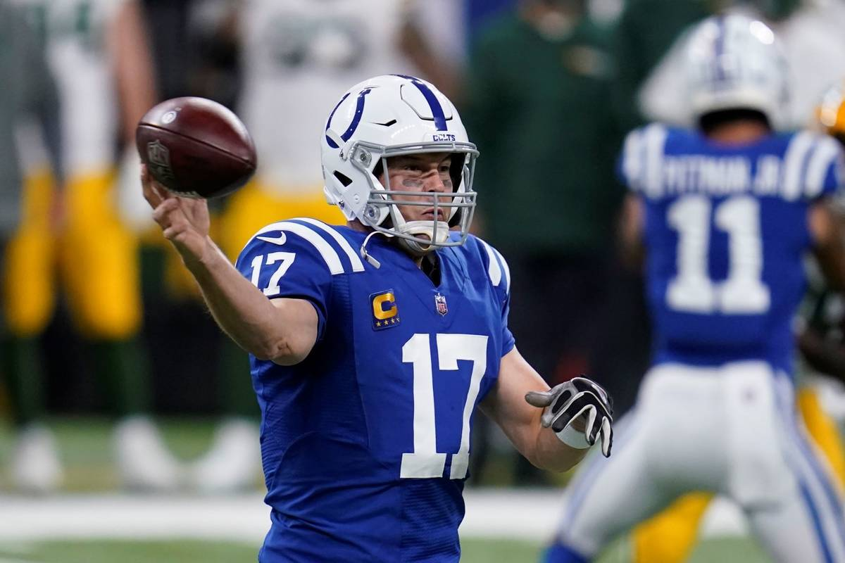 Indianapolis Colts quarterback Philip Rivers (17) throws during the first half of an NFL footba ...