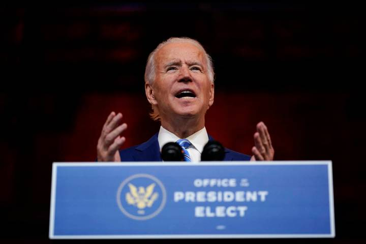 President-elect Joe Biden speaks at The Queen theater Wednesday, Nov. 25, 2020, in Wilmington, ...