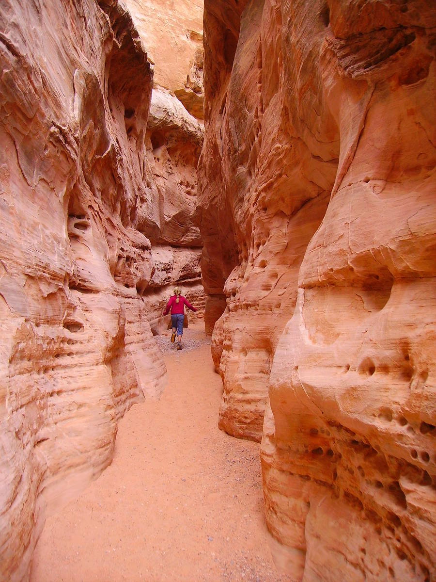 IThe White Domes Loop Trail features various types of terrain including a short walk through a ...