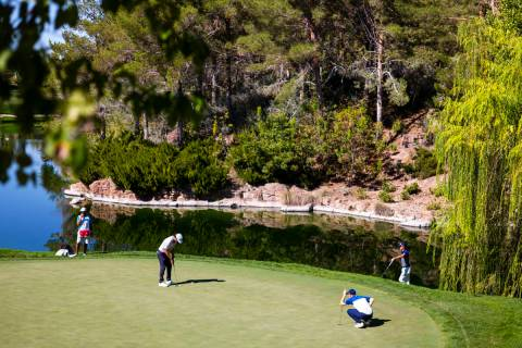 Lanto Griffin, lower left, putts on the fourth green during the third round of the CJ Cup golf ...