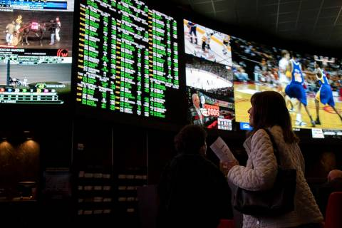 Race & Sports, the sportsbook at Palms, on Thursday, Nov. 21, 2019, in Las Vegas. (Ellen Sc ...