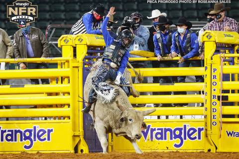 Stetson Wright of Milford, Utah, on the second day of the Wrangler National Finals Rodeo at Glo ...
