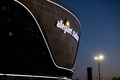 An exterior view of Allegiant Stadium in Las Vegas on Thursday, July 30, 2020. (Chase Stevens/L ...