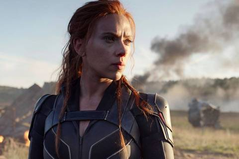 """This image released by Disney/Marvel Studios' shows Scarlett Johansson in a scene from """"Bl ..."""