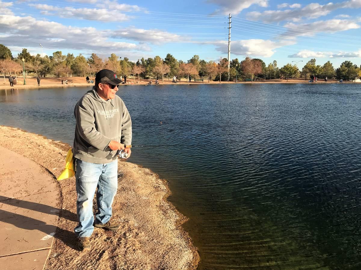Kurt Asplindh, and avid angler from Las Vegas, enjoys a fishing adventure at Veterans Memorial ...