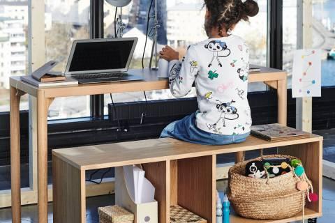 The Ravaror storage shelf also is a sturdy bench for extra seating. (Ikea)
