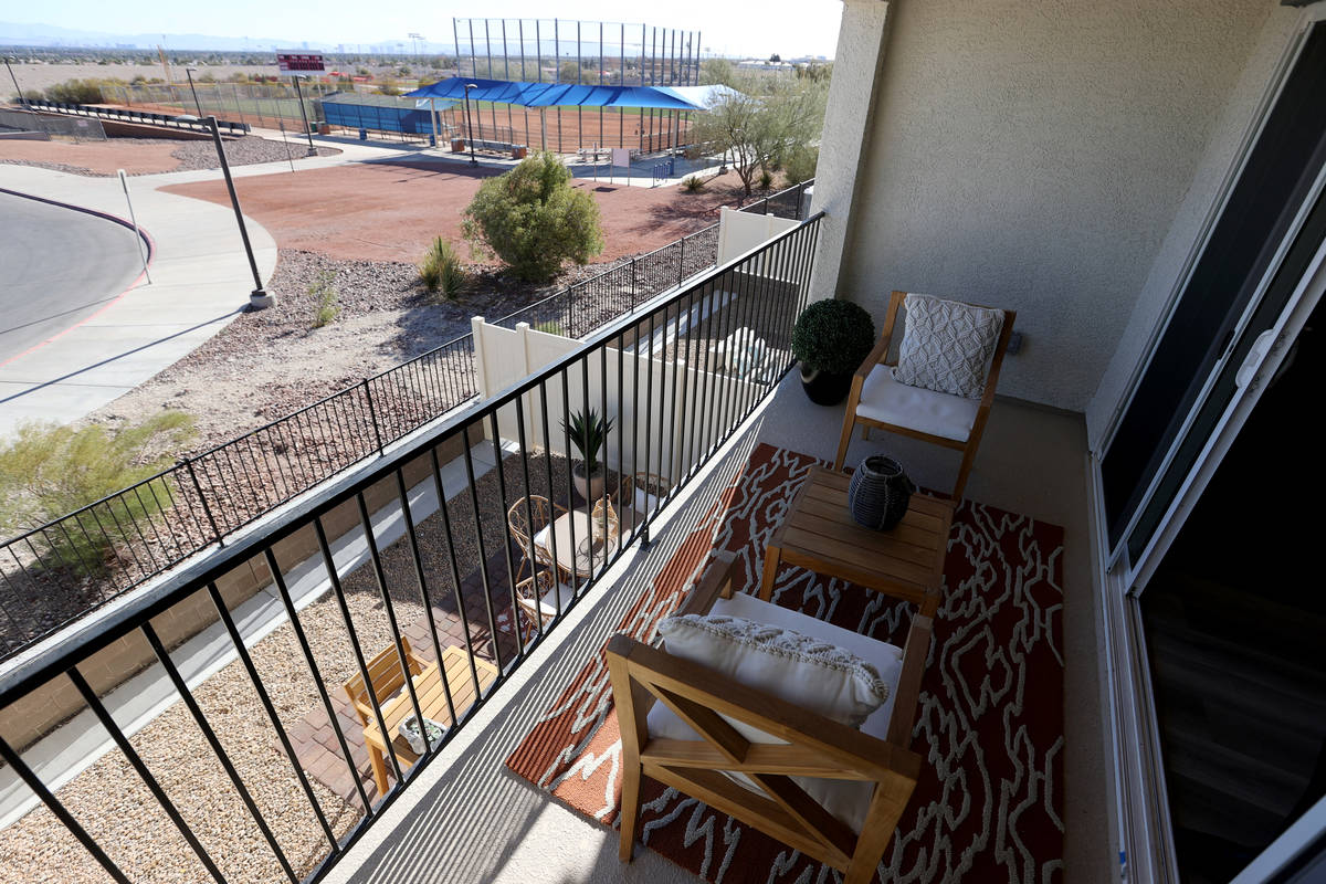 A model with a view of the Strip at Panorama housing development by Touchstone Living on North ...