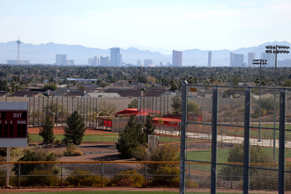 A view of the Las Vegas Strip at Panorama housing development by Touchstone Living on North Hua ...