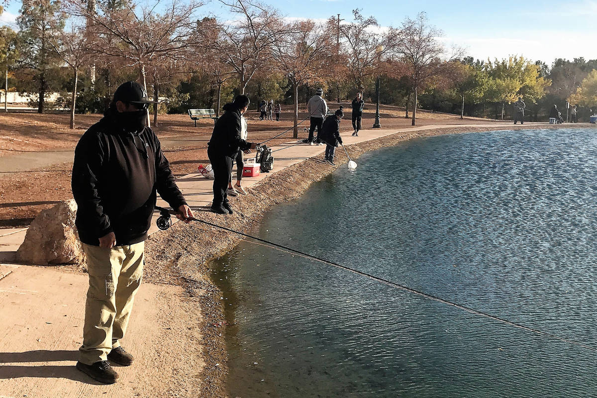 Mike Garcia, of Henderson, enjoys fly-fishing for trout at the urban ponds in the Las Vegas Val ...