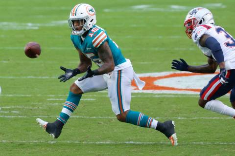 Miami Dolphins receiver Lynn Bowden (15) gets ready to grab a pass during the first half of an ...