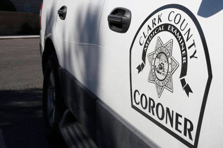 A Clark County Coroner and Medical Examiner vehicle parked at headquarters at 1704 Pinto Lane i ...