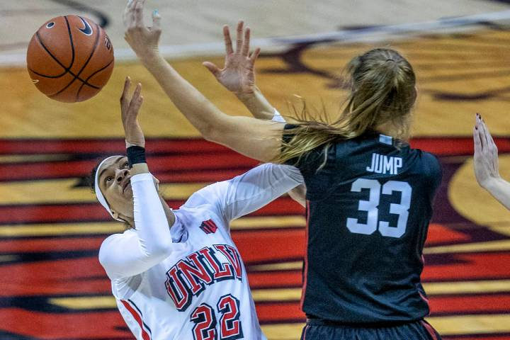 UNLV forward Tianna Carter (22), shown last month, had one of the Lady Rebels' six steals Satur ...