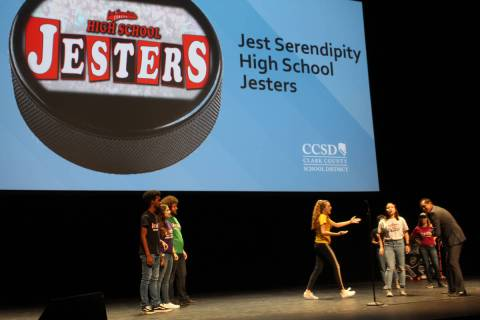 A select group of Jesters performs at The Smith Center in Las Vegas for Clark County School Dis ...