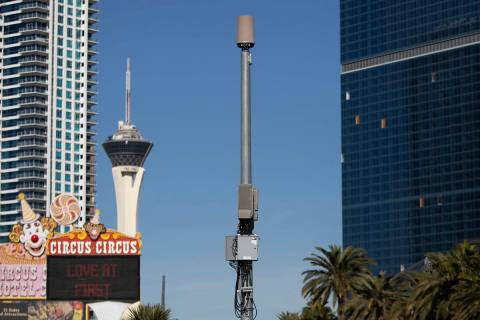 A small cell site is installed on a pole on Las Vegas Boulevard south of Sahara Avenue on Frida ...