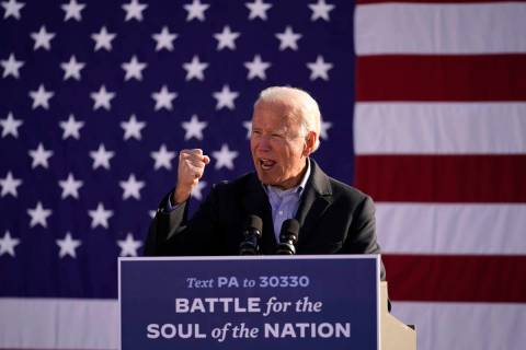 Joe Biden speaks at a rally at Community College of Beaver County, Monday, Nov. 2, 2020, in Mon ...