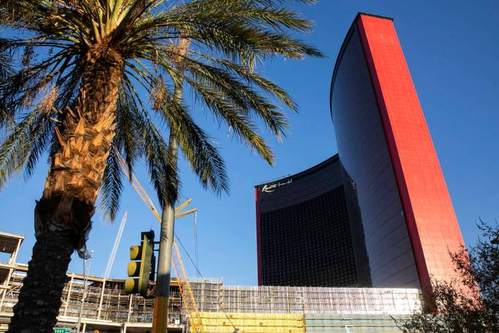 The Resorts World construction site photographed, on Monday, Aug. 31, 2020, in Las Vegas. (Bizu ...