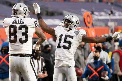 Raiders tight end Darren Waller (83) celebrates after scoring a touchdown in the second quarter ...