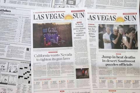 Las Vegas Sun newspapers photographed on Aug. 29, 2019. (K.M. Cannon/Las Vegas Review-Journal)