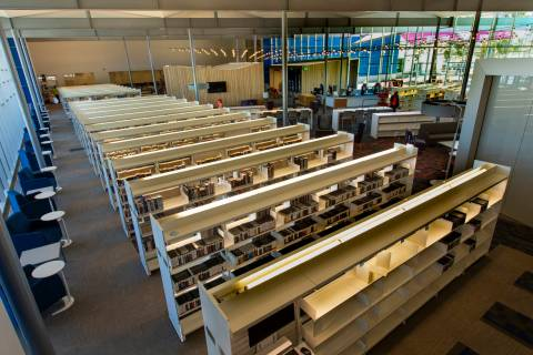 Many shelves of materials are already stocked within the new East Las Vegas Library, Las Vegas- ...