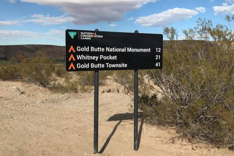A new road sign greets motorists on Oct. 8 along the main road into Gold Butte National Monumen ...