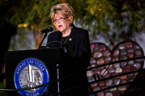 Las Vegas Mayor Carolyn Goodman speaks before reading the names of the victims killed in the Ro ...