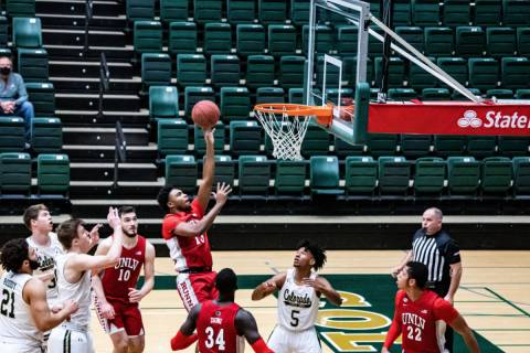 UNLV guard Bryce Hamilton goes up for a layup on Saturday at Colorado State. Photo courtesy of ...