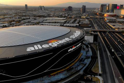 Aerial view of Allegiant Stadium and the Las Vegas Strip. (Michael Quine/Las Vegas Review-Journ ...