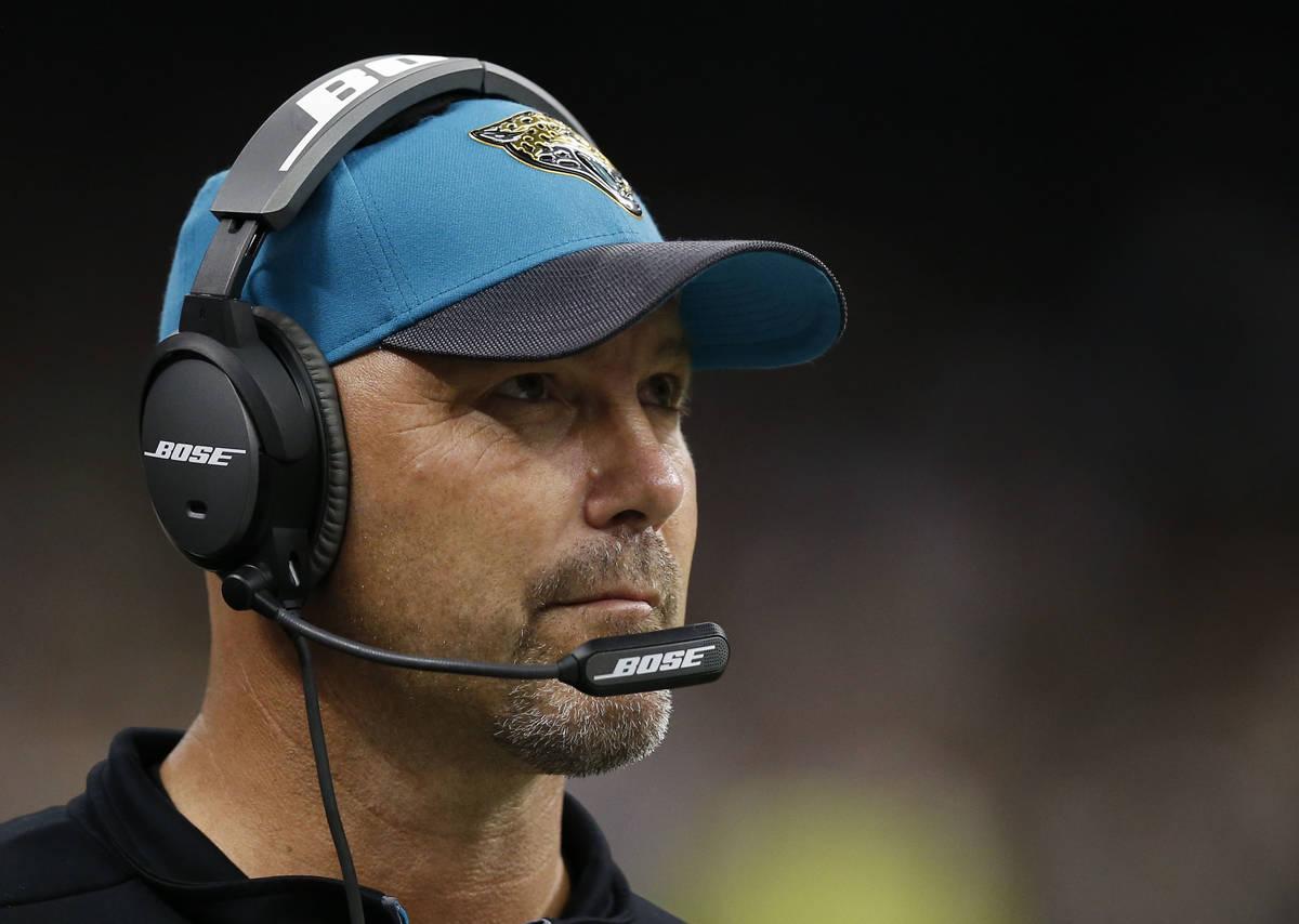 Jacksonville Jaguars head coach Gus Bradley works the sideline in the second half of an NFL foo ...