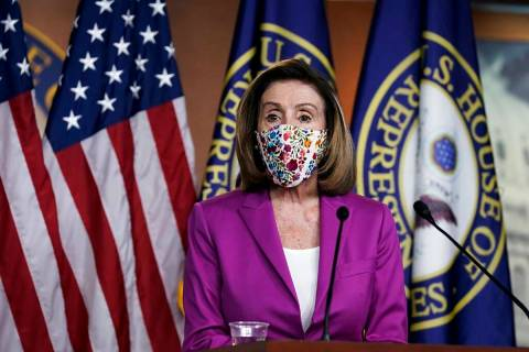 Speaker of the House Nancy Pelosi, D-Calif., holds a news conference on the day after violent p ...