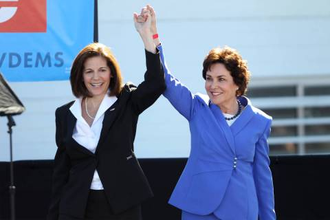 U.S. Sen. Catherine Cortez Masto, left, and Rep. Jacky Rosen, during a Nevada State Democratic ...
