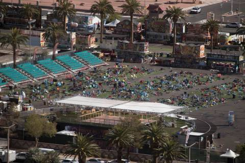 The Las Vegas Village festival grounds on the Las Vegas Strip Monday, Oct. 2, 2017, after a gun ...