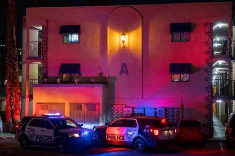 Las Vegas Metro Police Department investigate two homicides at the Harbor Island Apartments, 37 ...