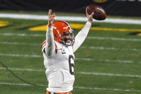 Cleveland Browns quarterback Baker Mayfield (6) celebrates as he walks off the field following ...
