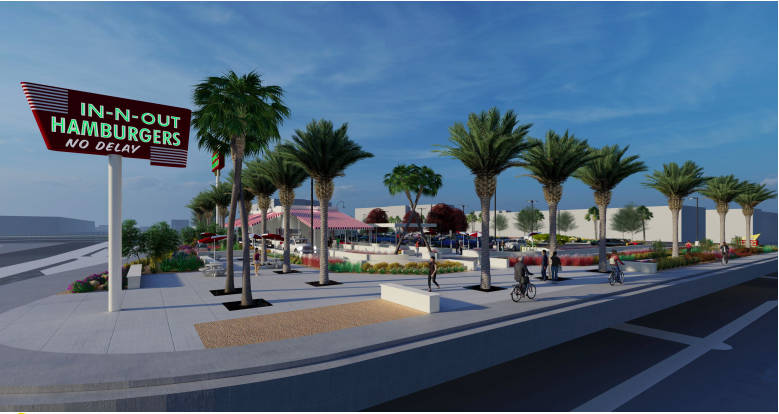 A rendering of an In-N-Out Burger slated to be built across the street from Allegiant Stadium i ...