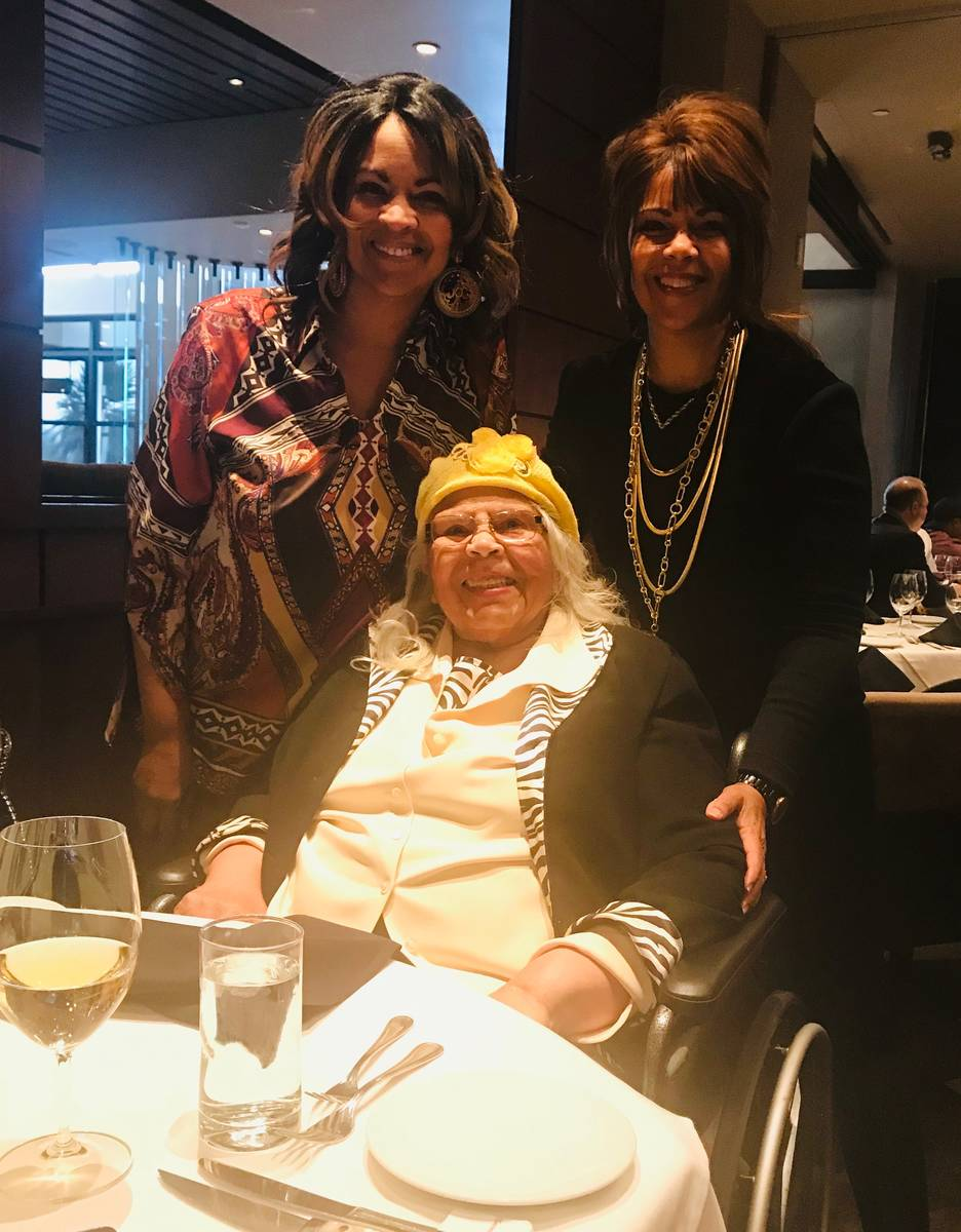 Barbara Tinch, then 86, with her daughters Diana, left, and Lisa during Thanksgiving 2019. Barb ...
