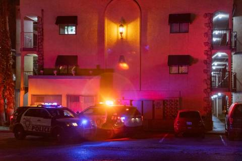 Las Vegas Metro Police Department investigate a double homicide at the Harbor Island Apartments ...
