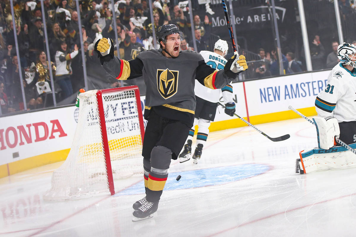 Golden Knights right wing Mark Stone (61) celebrates a goal by left wing Max Pacioretty, not pi ...
