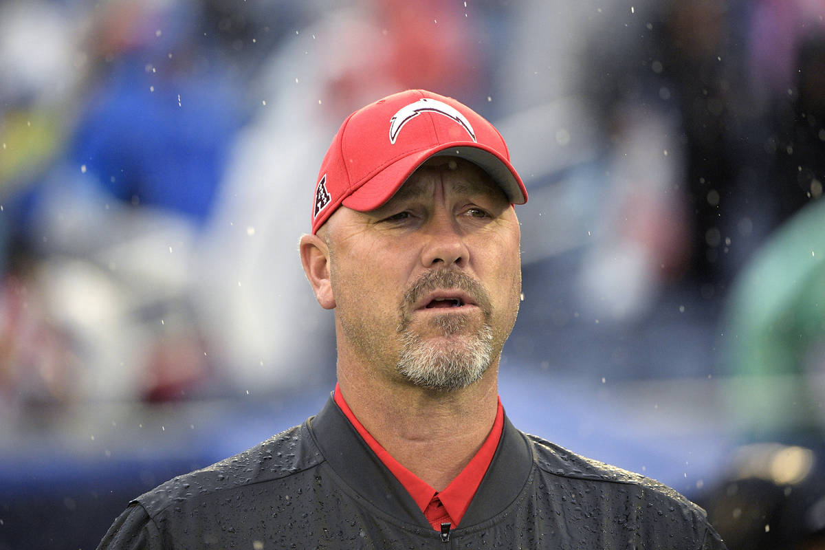 AFC defensive coordinator Gus Bradley, of the Los Angeles Chargers, watches during the first ha ...