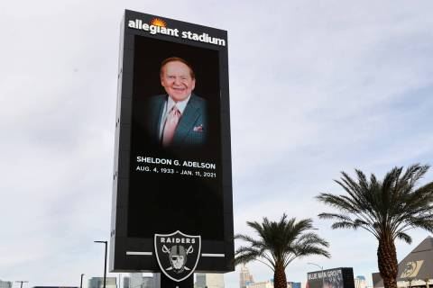 A digital billboard honoring Sheldon Adelson, CEO of Las Vegas Sands Corp., is shown at Allegia ...
