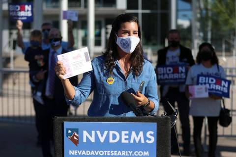 State Senator Yvanna Cancela, D-Las., speaks during a news conference to promote Democrats to v ...