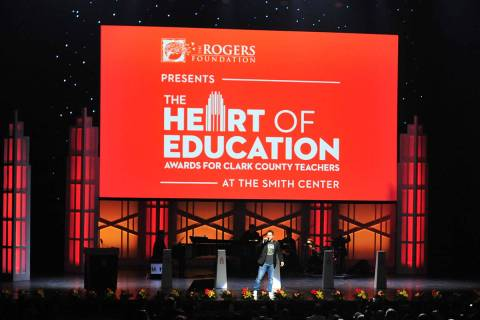 Voice of the Las Vegas Golden Knights Mark Shunock pumps up the audience during the Heart of Ed ...