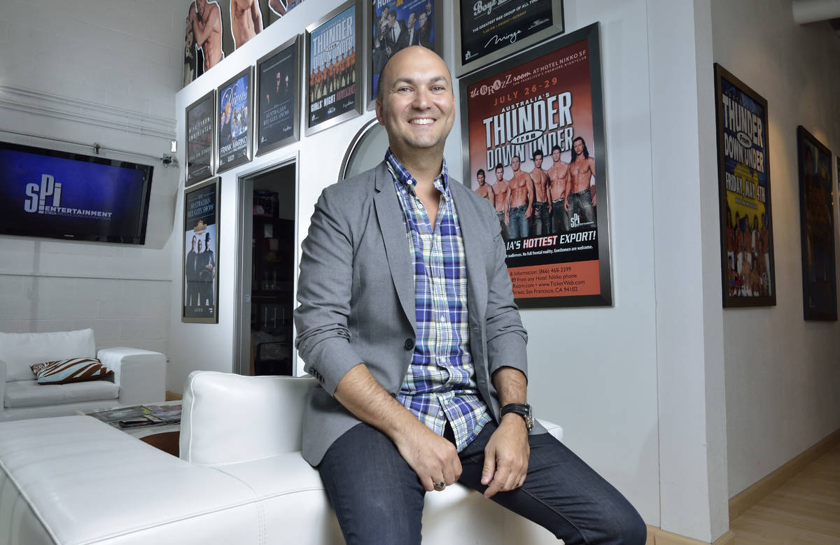 Adam Steck, CEO of SPI Entertainment, poses at the company's offices at 4090 E. Post Road in th ...