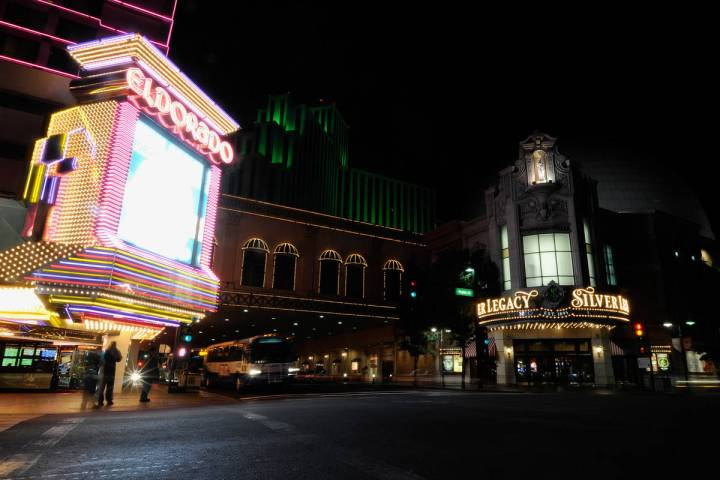 The Eldorado hotel-casino and the Silver Legacy hotel-casino are shown in downtown Reno on Wed. ...