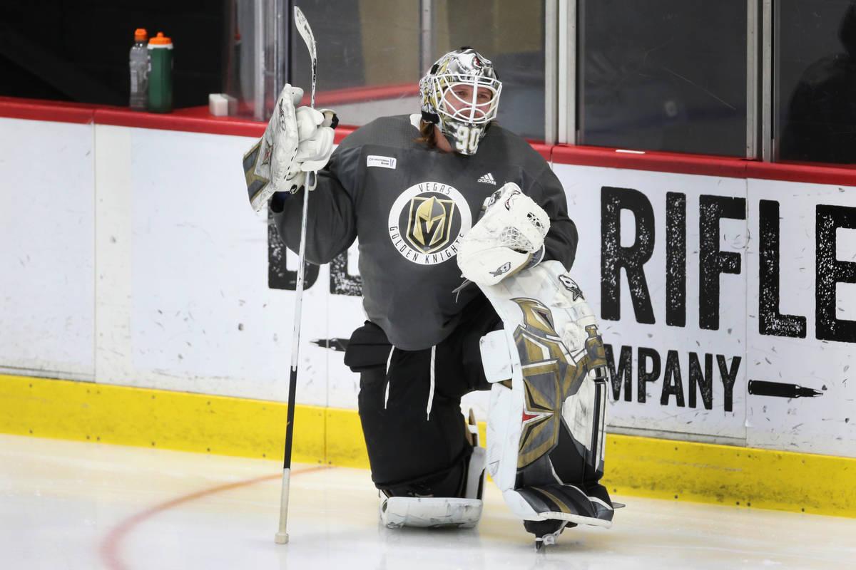 Vegas Golden Knights goaltender Robin Lehner (90) stretches during a team practice at City Nati ...