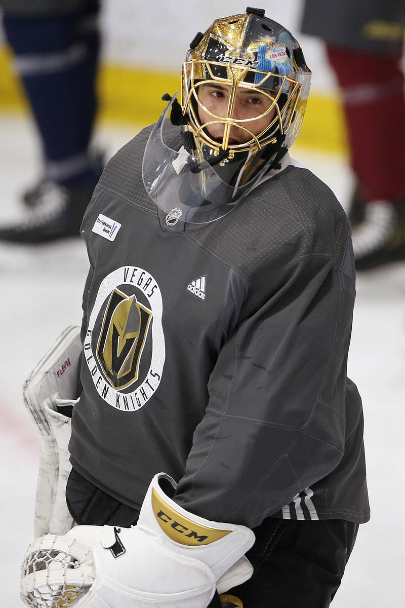 Vegas Golden Knights goaltender Marc-Andre Fleury (29) looks on during a team practice at City ...