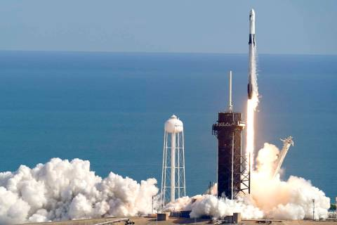 A SpaceX Falcon 9 rocket on a resupply mission to the International Space Station lifts off fro ...