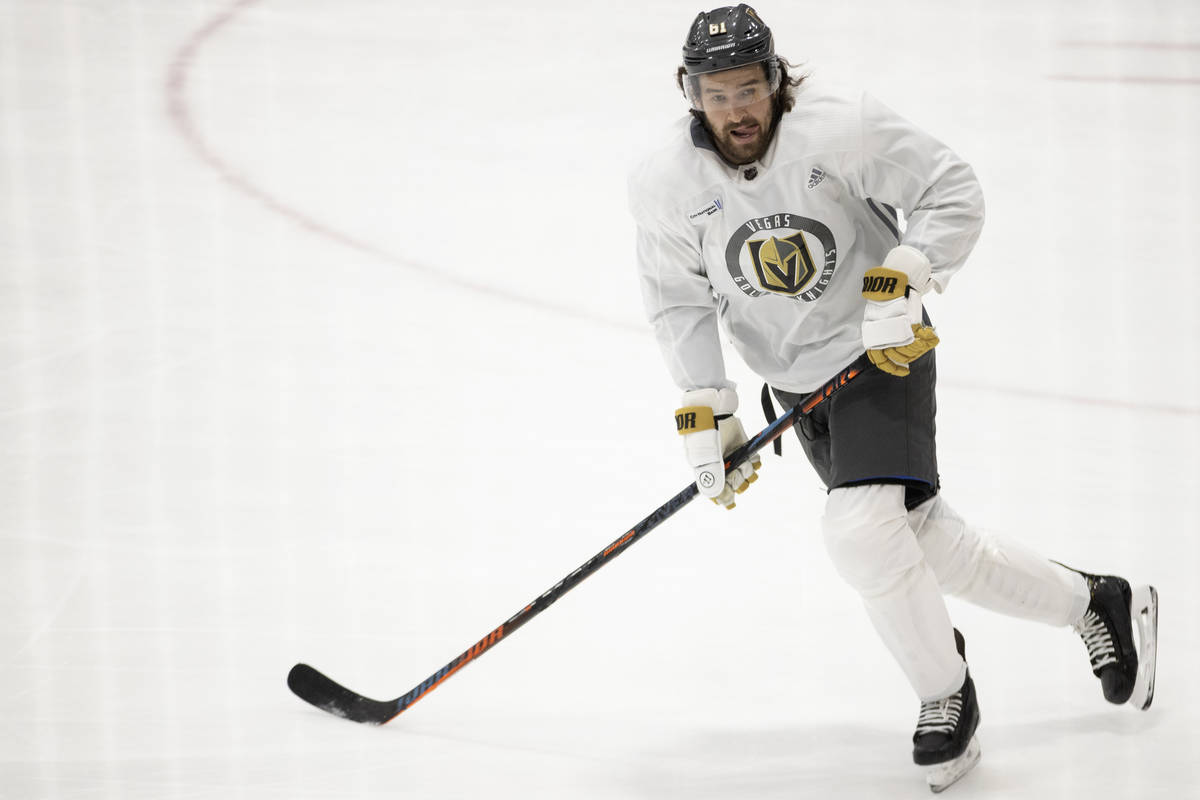 Vegas Golden Knights right wing Mark Stone (61) skates during a team practice at City National ...