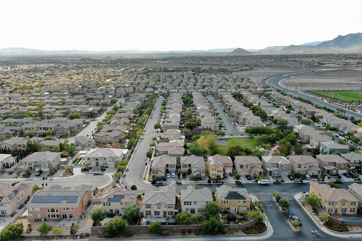 An aerial view of Skye Canyon shows the homes in the northwest valley master plan. The communit ...