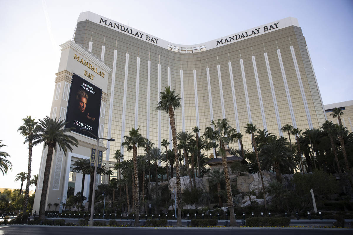 The Mandalay Bay marquee displays a picture in memory of Siegfried Fischbacher in Las Vegas, on ...